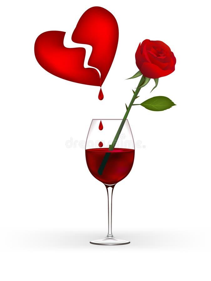 O coração, vinho bloddy, vermelho levantou-se ilustração do vetor