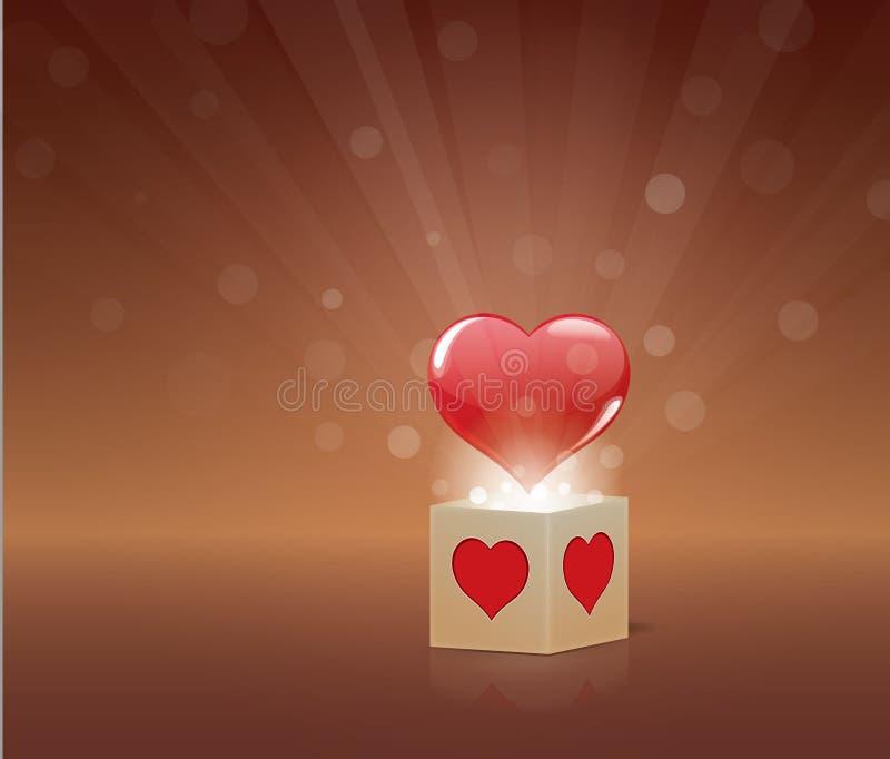 O coração voa fora da caixa ilustração do vetor