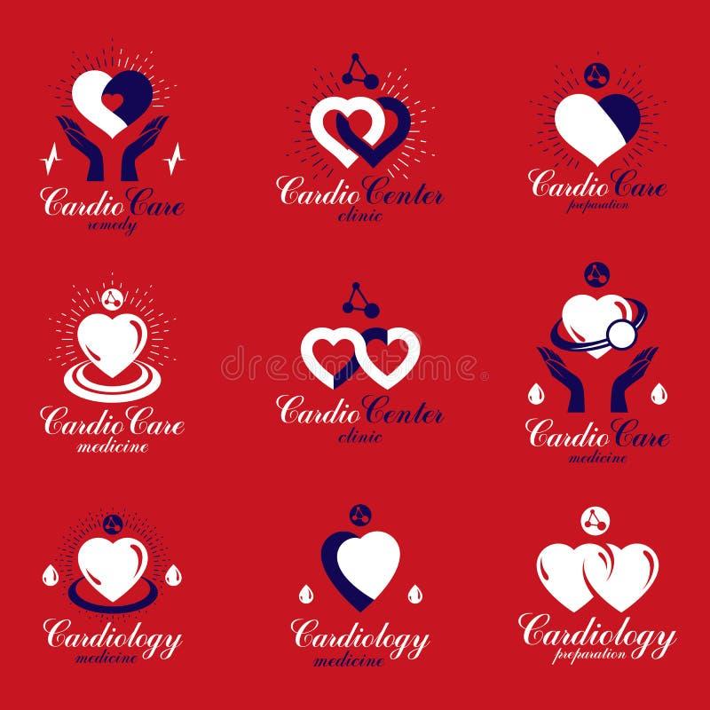 O cora??o vermelho d? forma feito usando cartas do ecg e importando-se as m?os Ajuste das doenças do sistema cardiovascular remed ilustração stock