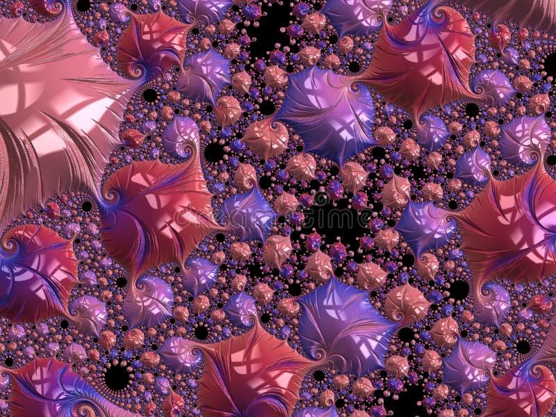 O coral abstrato e o teste padr?o espiral textured violeta do fractal, 3d rendem para o cartaz, o projeto e o entretenimento r ilustração stock