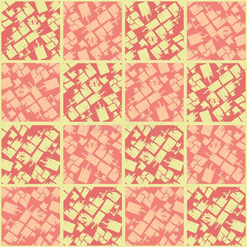 O coral e o pêssego coram quadrados textured no projeto geométrico da telha Teste padr?o sem emenda do vetor no fundo amarelo Gra ilustração royalty free