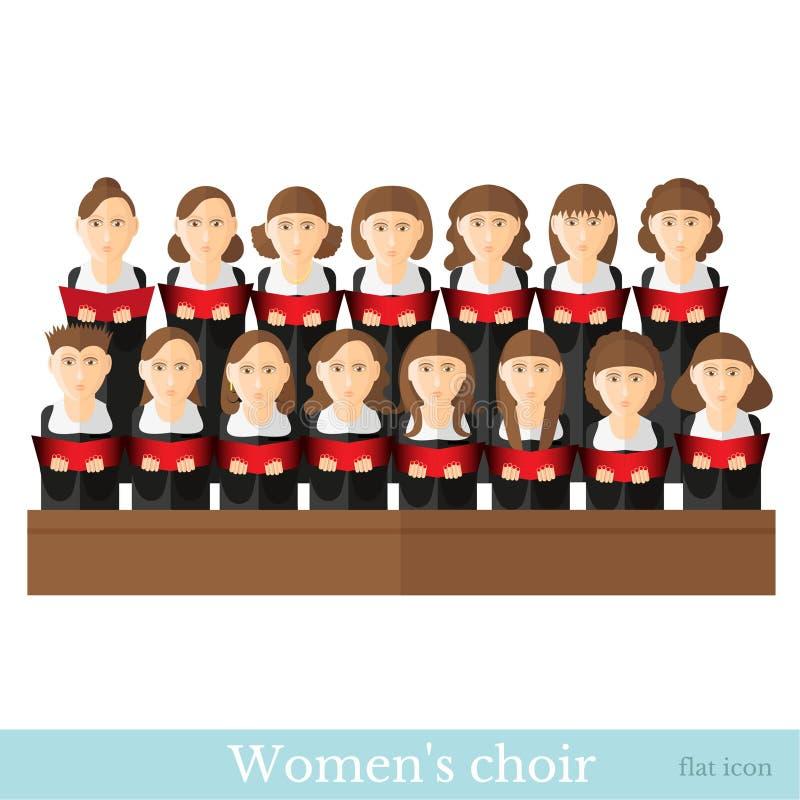 O coro das mulheres lisas do estilo em dois raws com ternos pretos e notas de tampa vermelhas isolou-se ilustração do vetor