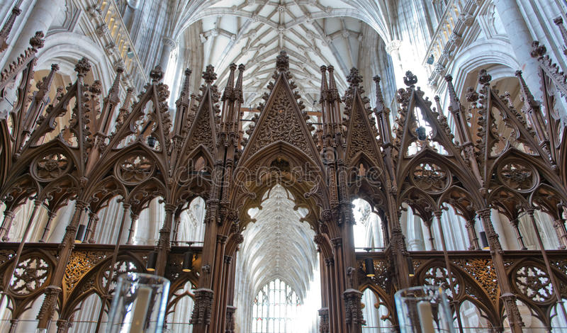 O coro dentro da catedral de Winchester, Reino Unido fotografia de stock royalty free