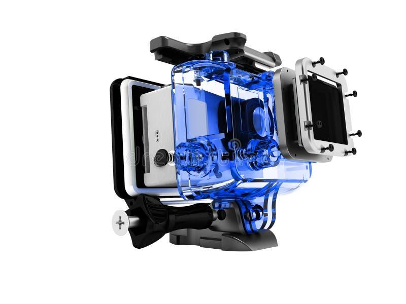 O corpo branco moderno na embalagem azul para abrandamento extremo 3D desmontado não rende no fundo branco nenhuma sombra ilustração do vetor