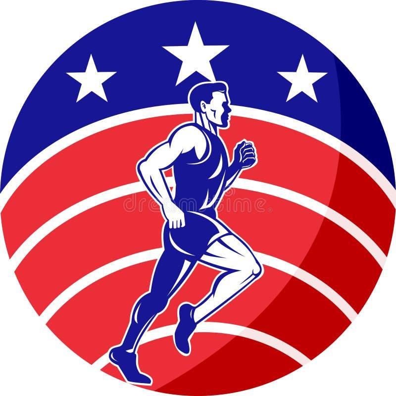 O corredor de maratona americano stars a bandeira das listras ilustração stock