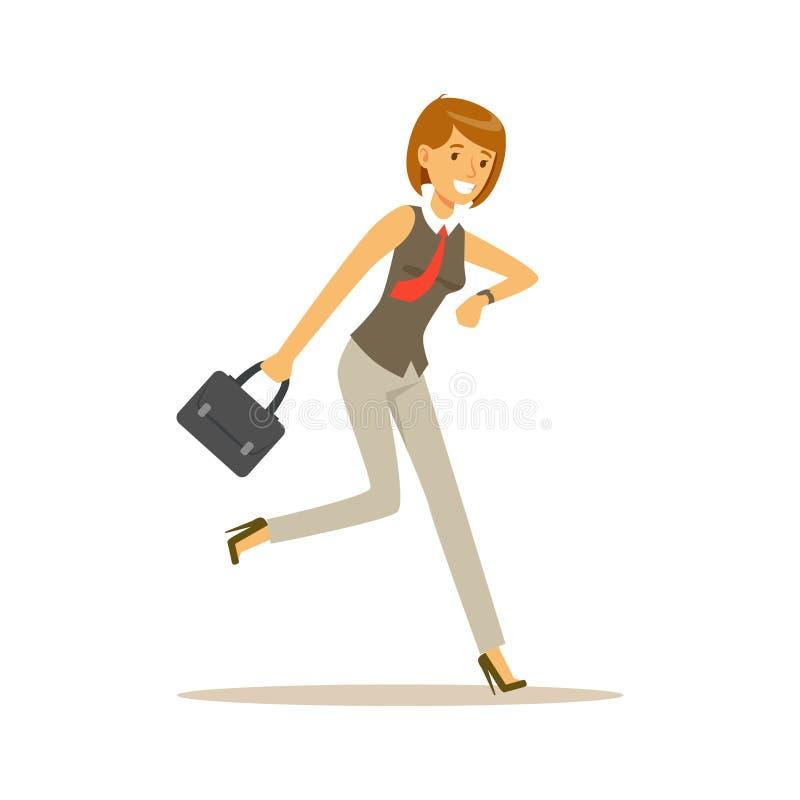 O corredor de sorriso a trabalhar, mulher de negócios do caráter da jovem mulher é ilustração atrasada do vetor ilustração royalty free