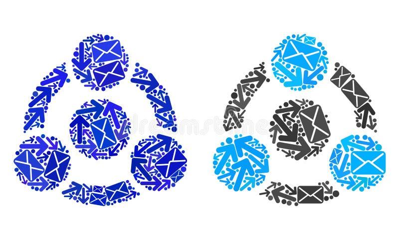 O correio distribui ícones da colaboração da colagem ilustração do vetor