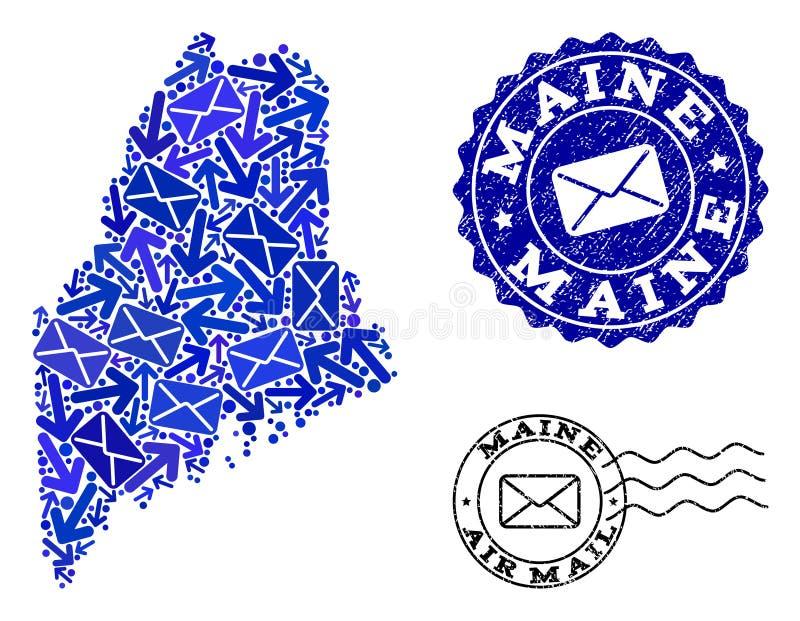 O correio distribui a colagem do mapa de mosaico de Maine State e de selos Textured ilustração do vetor