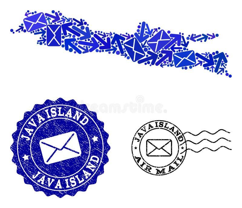 O correio distribui a colagem do mapa de mosaico de selos de Java Island e do Grunge ilustração royalty free