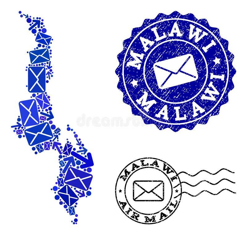 O correio distribui a composição do mapa de mosaico de Malawi e de selos Textured ilustração stock