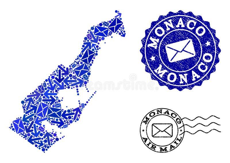 O correio distribui a composi??o do mapa de mosaico de selos de M?naco e da afli? ilustração stock