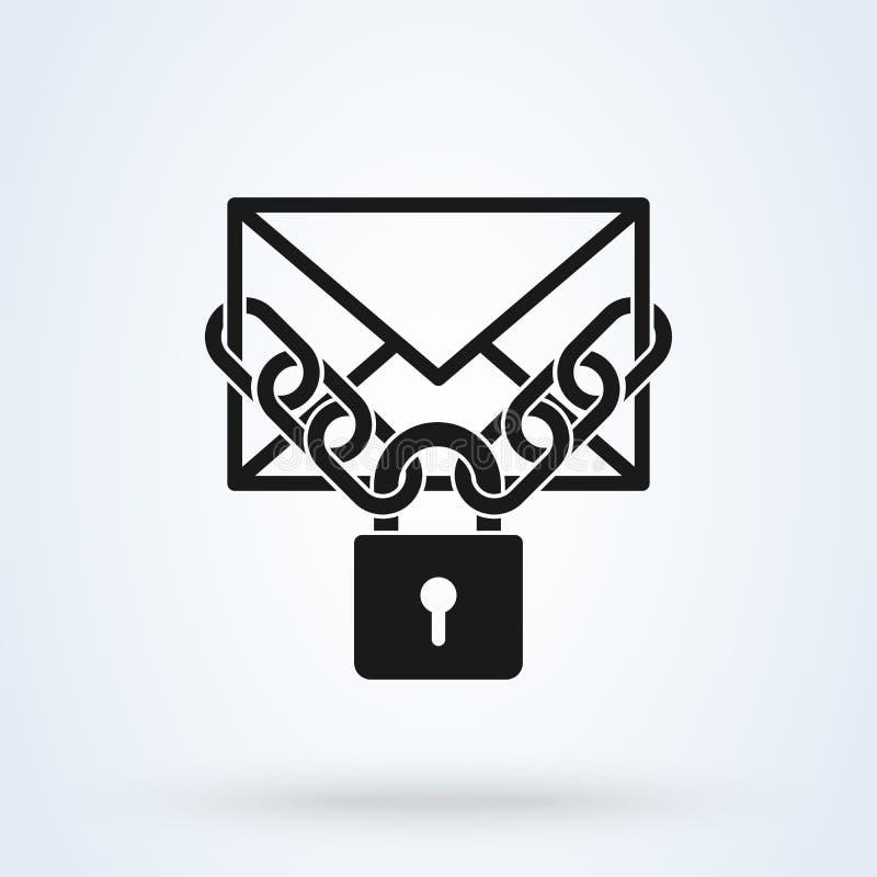 O correio enchido travou o ícone Ilustração fechado do vetor do correio para o projeto gráfico Símbolo fechado do correio ilustração royalty free