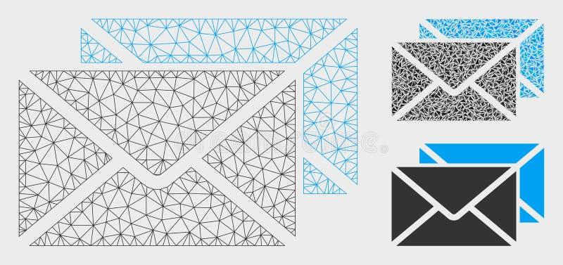 O correio envolve o vetor Mesh Wire Frame Model e o ícone do mosaico do triângulo ilustração do vetor