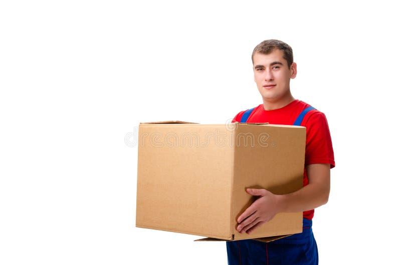 O correio masculino novo com a caixa isolada no branco foto de stock royalty free