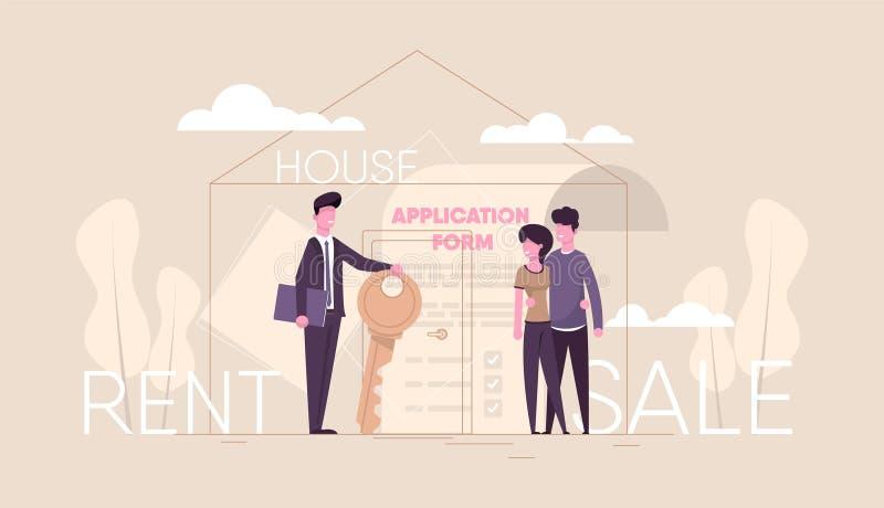 O corretor de imóveis vende a casa ilustração do vetor