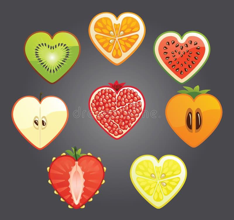 O corte do differend frutifica, bagas em uma forma do coração ilustração do vetor