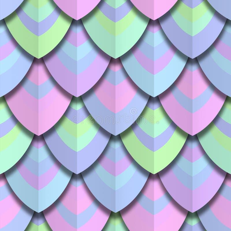 O corte do papel da cor escala a textura sem emenda ilustração royalty free