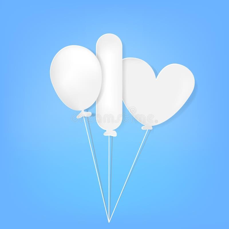 O corte do papel de três balão, oval, retângulo e amor dá forma no fundo gradual claro ilustração do vetor
