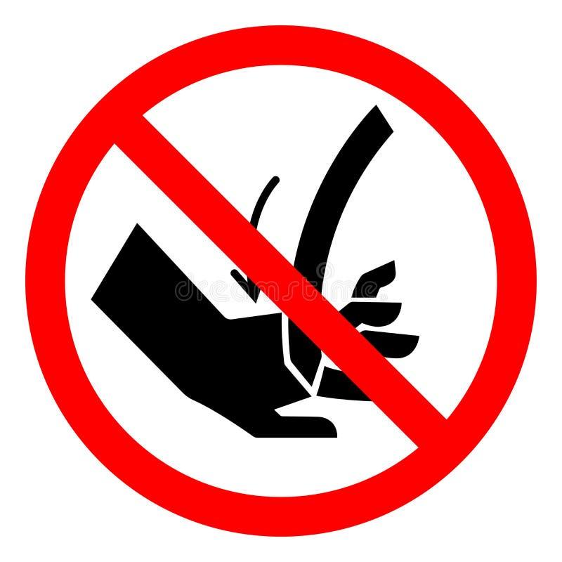 O corte do perigo de ferimento da mão curvou o sinal do símbolo da lâmina, ilustração do vetor, isolado na etiqueta branca do fun ilustração royalty free