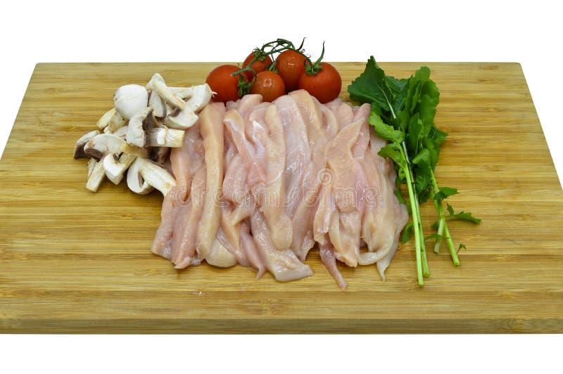 O corte fresco e limpo do peito de frango julien Assado, açougue fotografia de stock