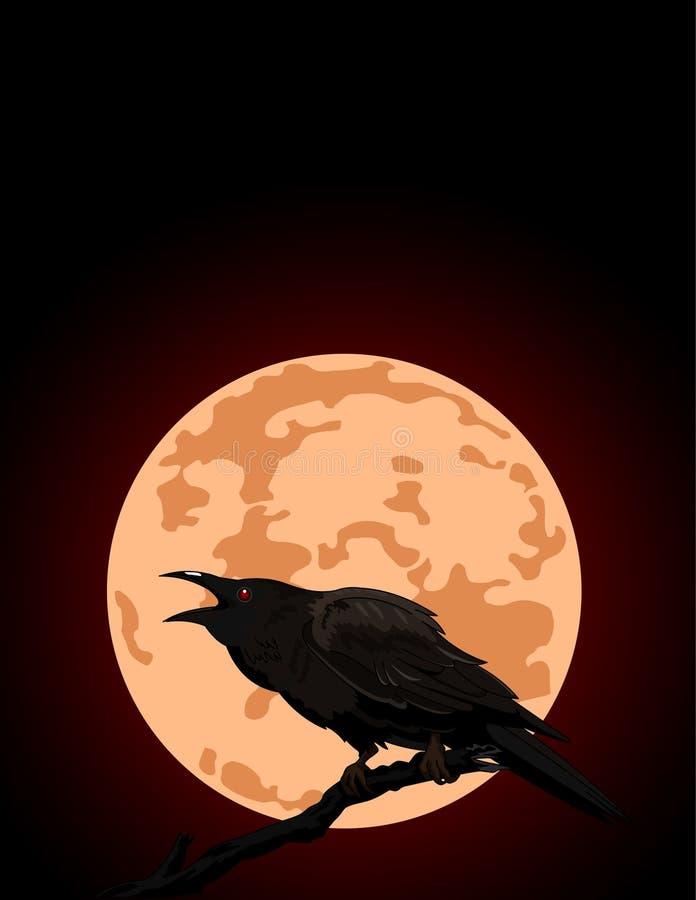 O corvo croaks de encontro a uma Lua cheia ilustração royalty free