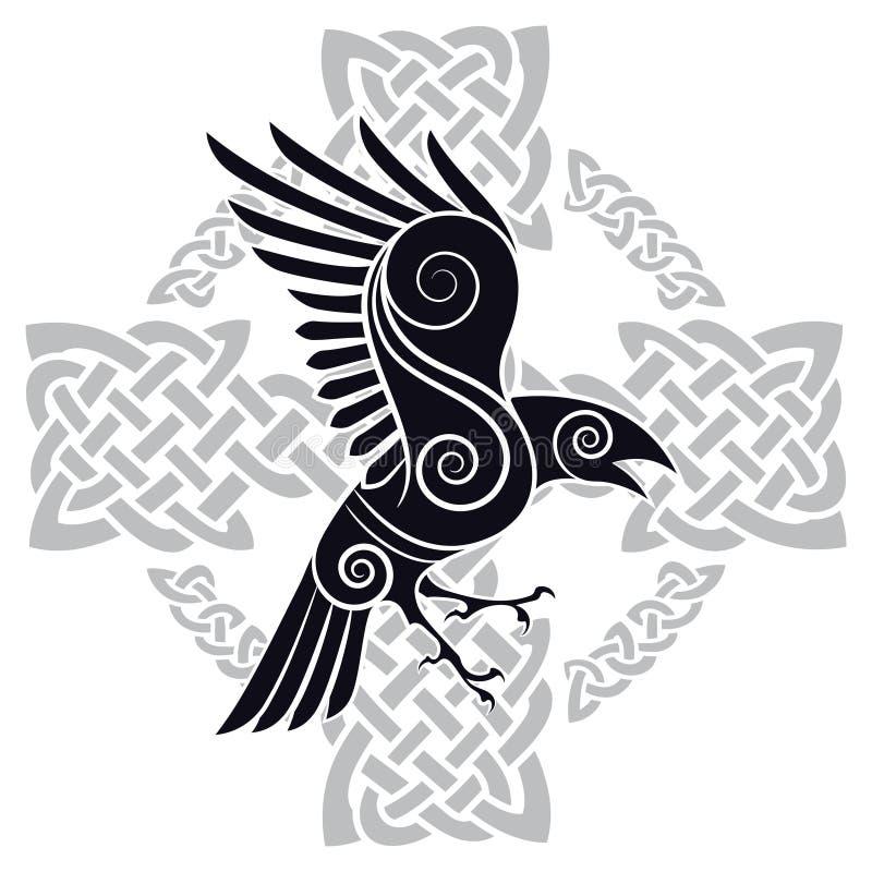 O corvo de Odin em uma cruz celta modelada de estilo celta ilustração do vetor