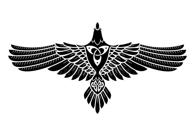 O corvo de Odin, nos noruegueses, de estilo celta ilustração do vetor