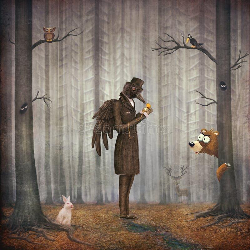 O corvo na floresta escura olha o relógio ilustração stock