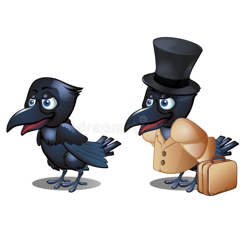 O corvo na roupa com o cilindro da mala de viagem e do chapéu isolado no fundo branco Close-up dos desenhos animados do vetor ilustração royalty free