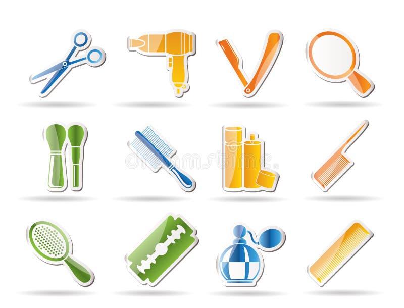 O cosmético, compo e os ícones do hairdressing ilustração do vetor