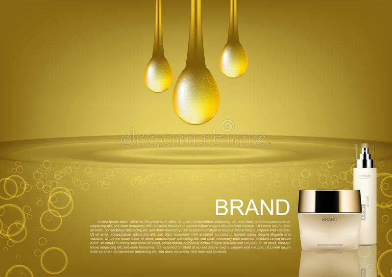 O cosmético da beleza ajustou-se com os anúncios do cosmético do vetor das gotas do ouro ilustração royalty free