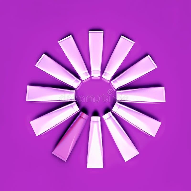 O cosmético desnata é ficado situado sob a forma de um círculo fotos de stock royalty free