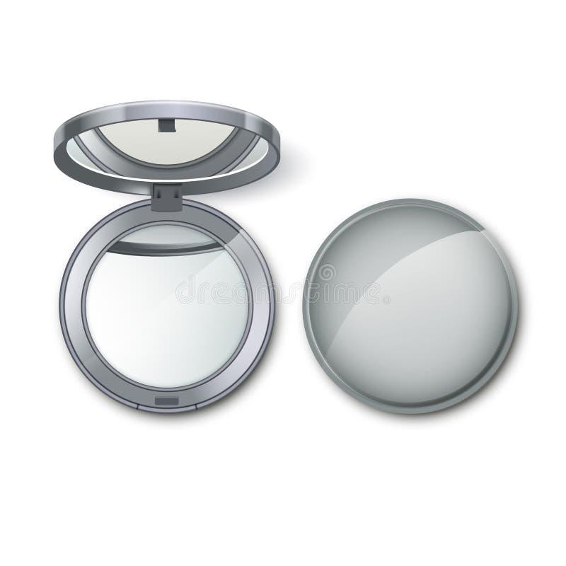 O cosmético redondo de prata do bolso compõe o espelho pequeno ilustração do vetor