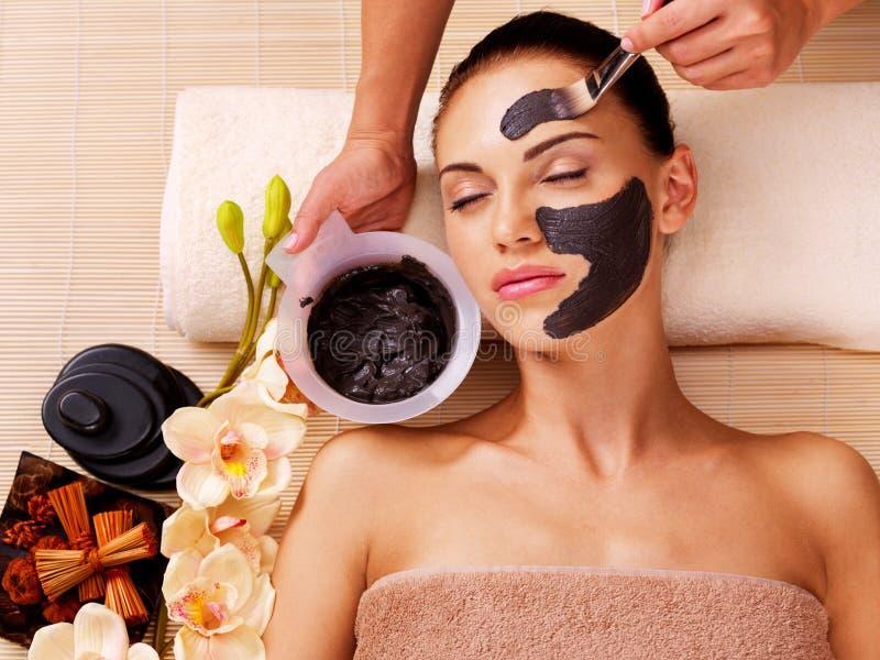 O Cosmetologist mancha a máscara cosmética na cara da mulher imagens de stock