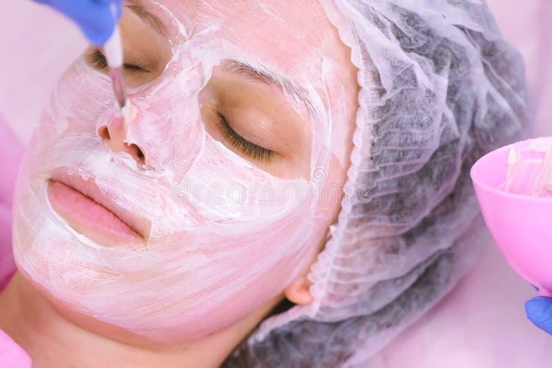 O Cosmetologist p?e a m?scara sobre a cara da mulher com escova Cara hidratando Enfrente o close-up foto de stock