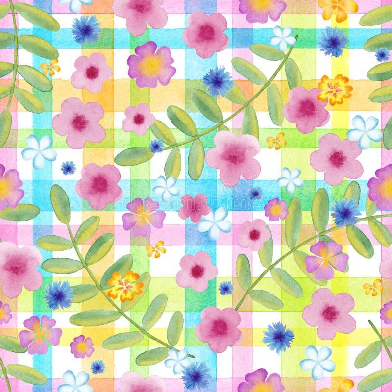 O cosmos sem emenda das flores em um guingão verifica cores amarelas flores azuis no ornamento das listras Aquarela realística ilustração stock