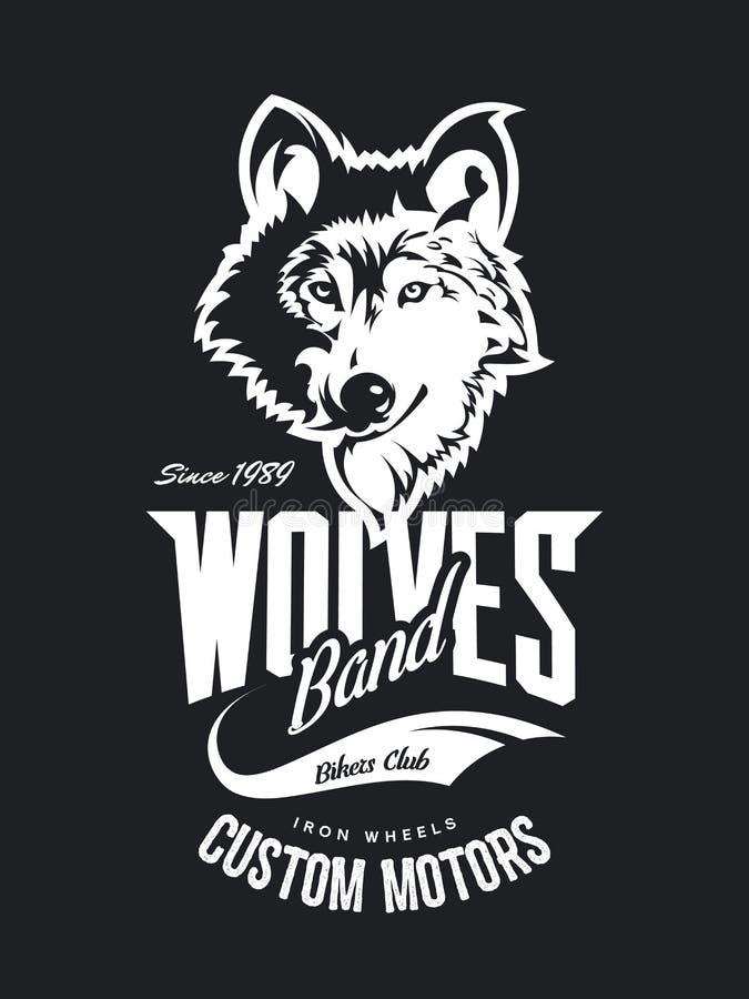 O costume do lobo do vintage viaja de automóvel o logotipo do vetor do t-shirt do clube no fundo escuro ilustração royalty free