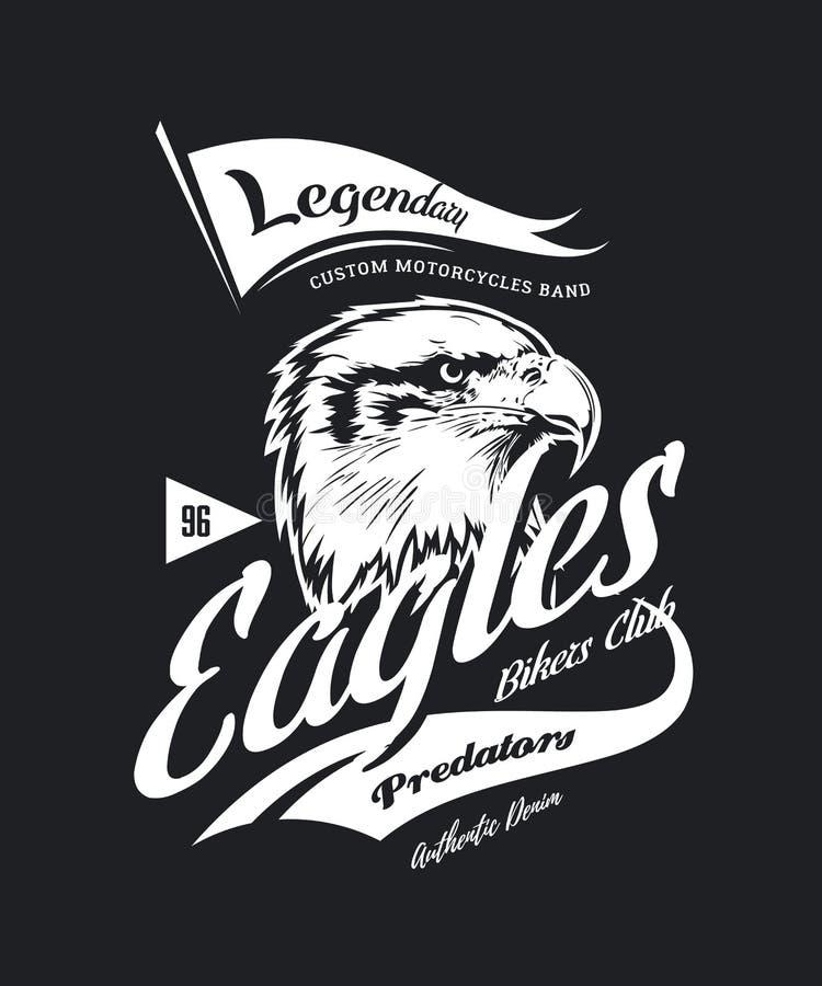 O costume furioso americano da águia do vintage bikes o logotipo do vetor do t-shirt do clube do motor no fundo escuro ilustração do vetor