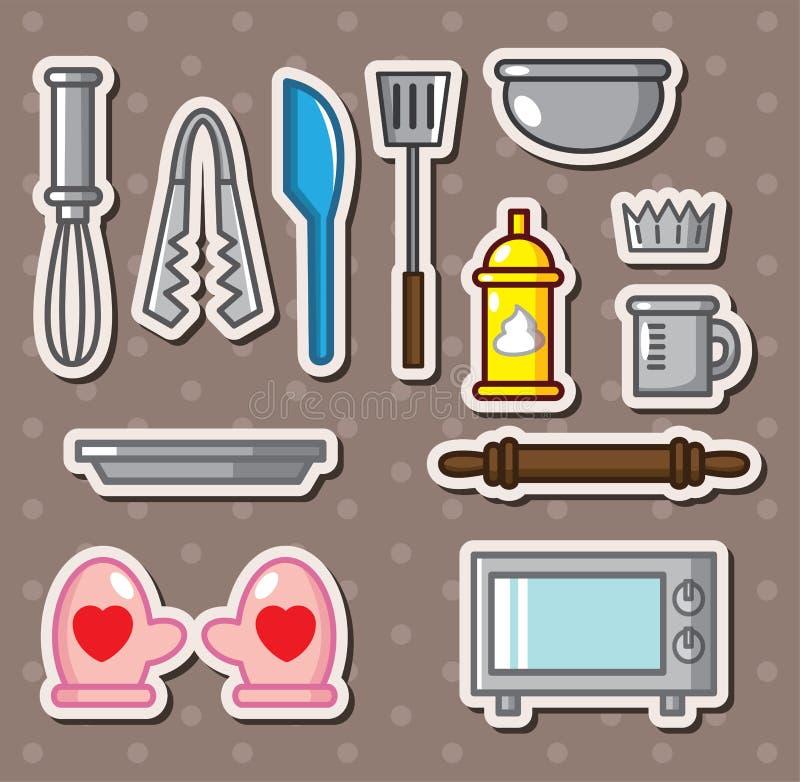 O cozimento utiliza ferramentas etiquetas ilustração do vetor