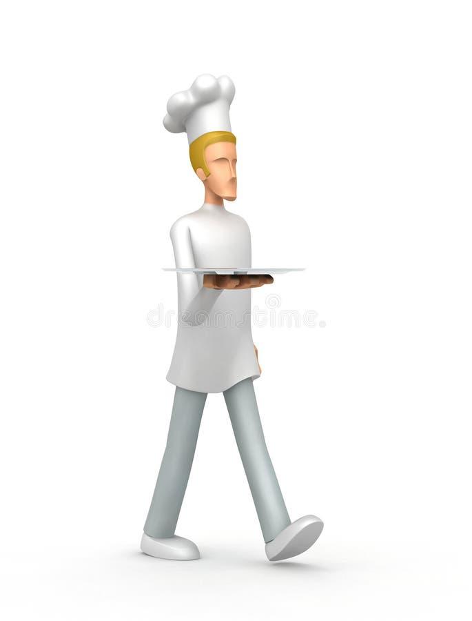 O cozinheiro chefe carreg uma bandeja ilustração royalty free