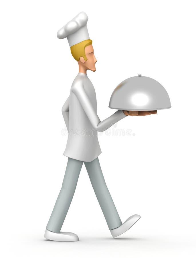 O cozinheiro chefe carreg uma bandeja ilustração do vetor