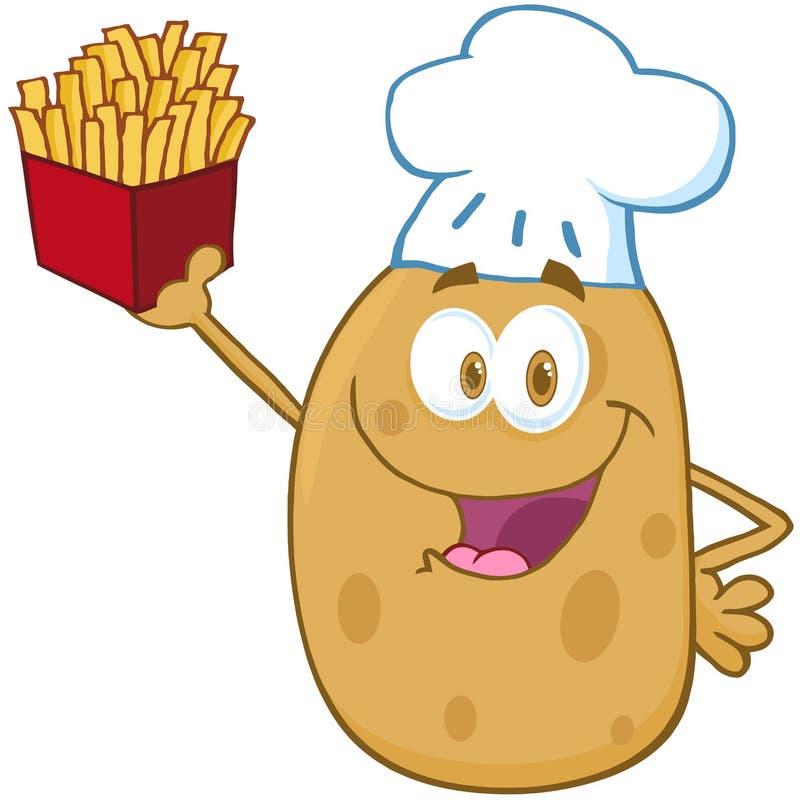 O cozinheiro chefe da batata que sustenta um francês frita ilustração stock
