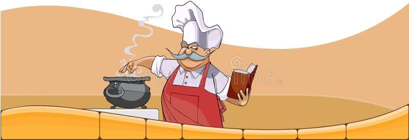 O cozinheiro chefe dos desenhos animados cozinha no potenciômetro e olha no livro ilustração stock