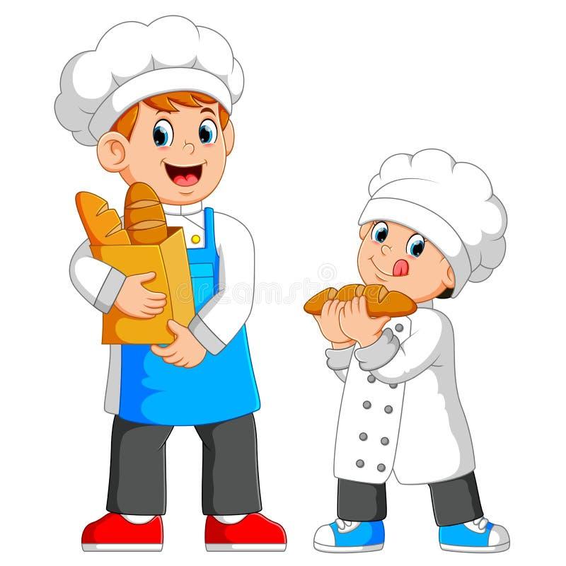 O cozinheiro chefe está guardando um saco do pão com o menino ao lado dele ilustração royalty free