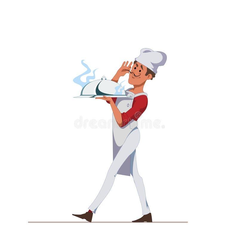 O cozinheiro chefe leva uma bandeja coberta com o prato delicioso da tampa Personagem de banda desenhada isolado no fundo branco  ilustração do vetor