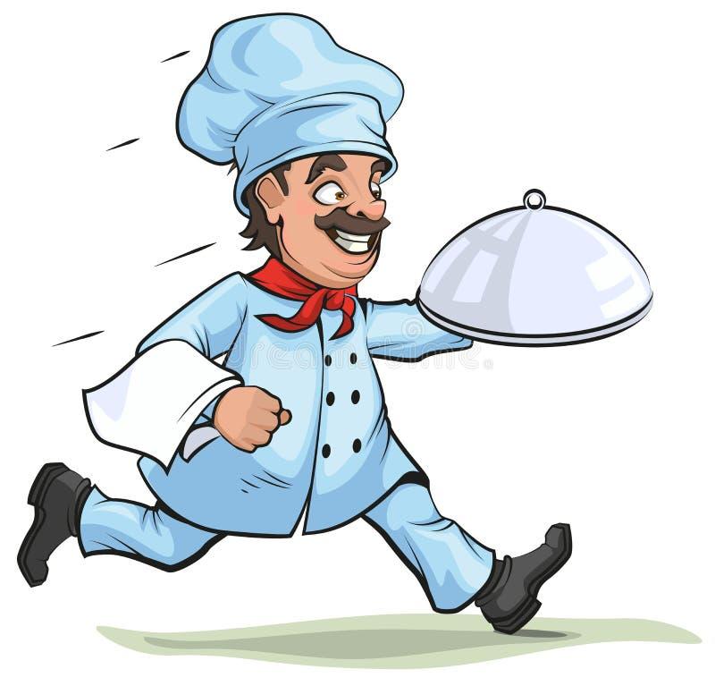 O cozinheiro chefe masculino leva o prato terminado na bandeja ilustração royalty free
