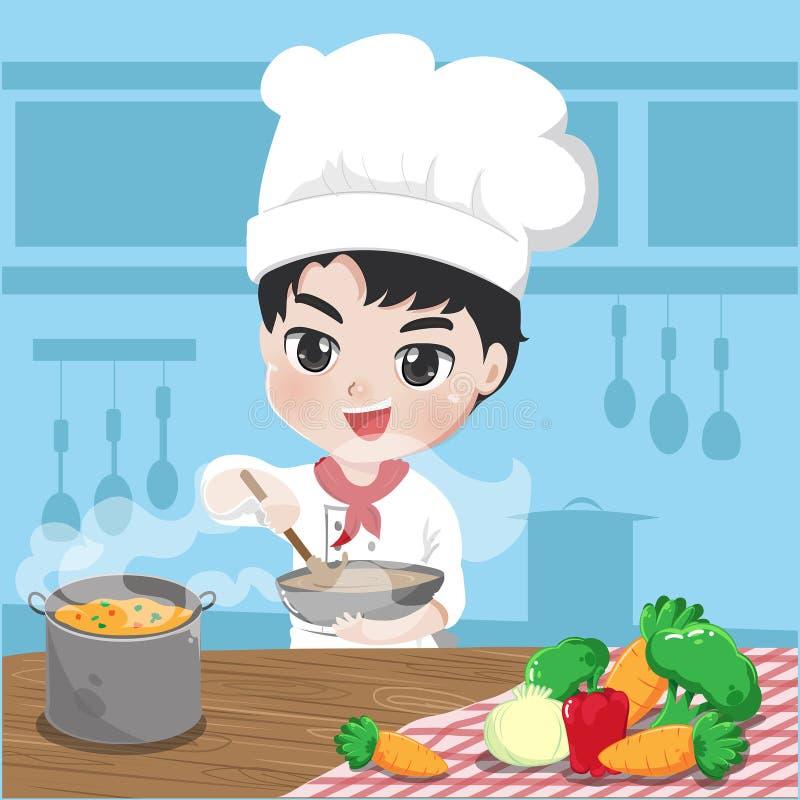 O cozinheiro chefe novo está cozinhando em sua cozinha ilustração royalty free