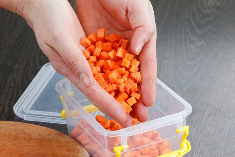 O cozinheiro chefe põe a cenoura na bandeja para congelar-se imagens de stock
