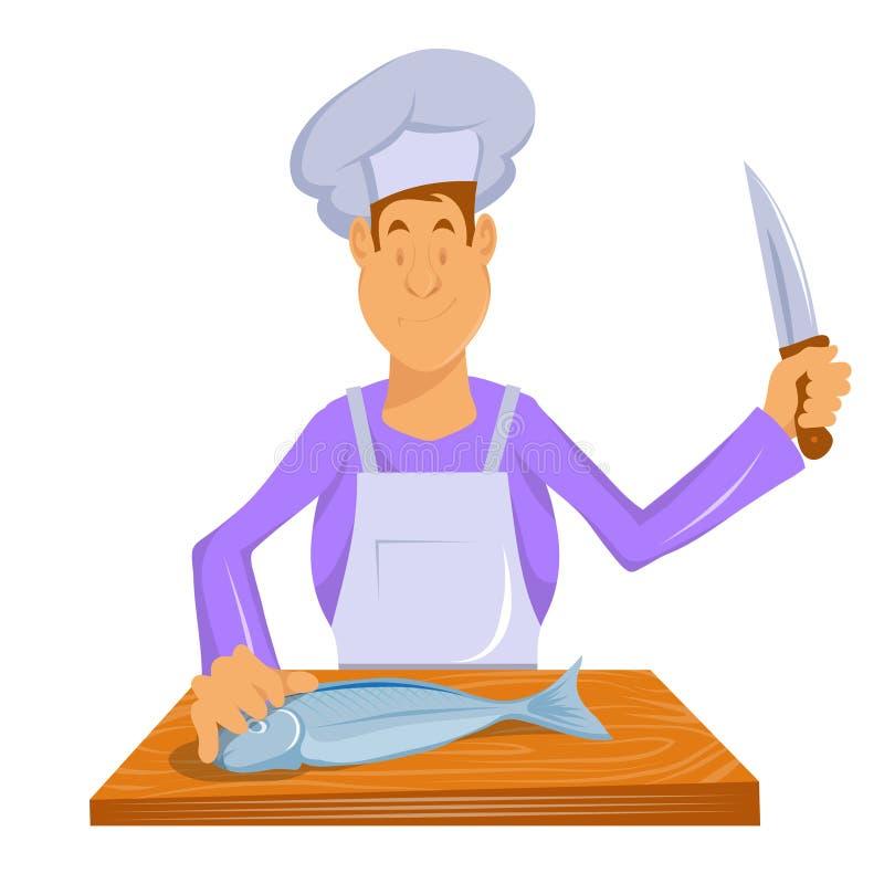 O cozinheiro chefe profissional faz peixes r Cozinheiro no trabalho Hef do ¡ de Ð que cozinha a refeição gourmet ( ilustração stock