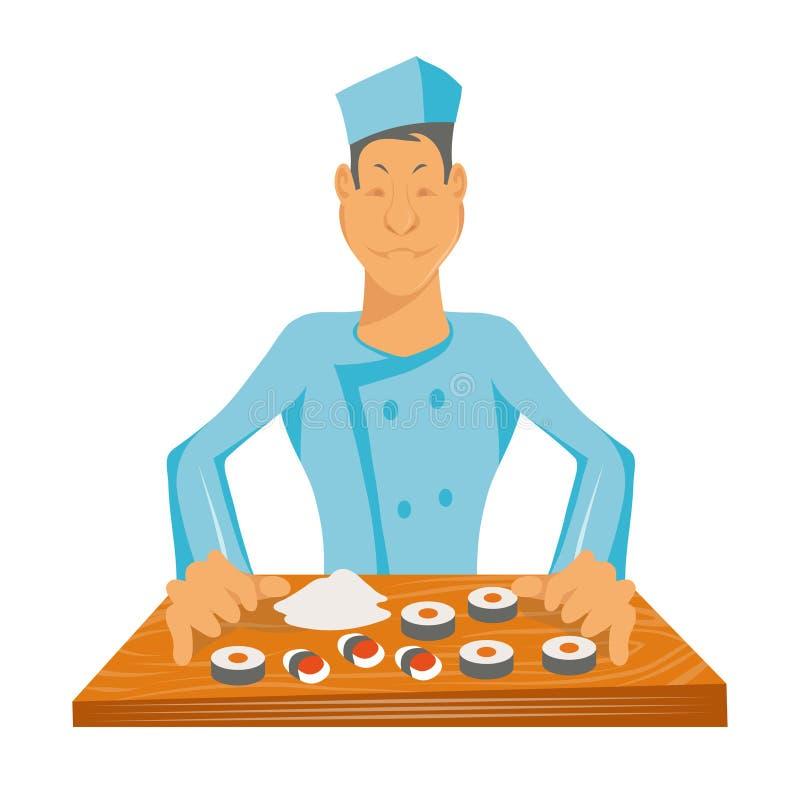 O cozinheiro chefe profissional faz o sushi r Cozinheiro no trabalho Hef do ¡ de Ð que cozinha a refeição gourmet ( ilustração do vetor